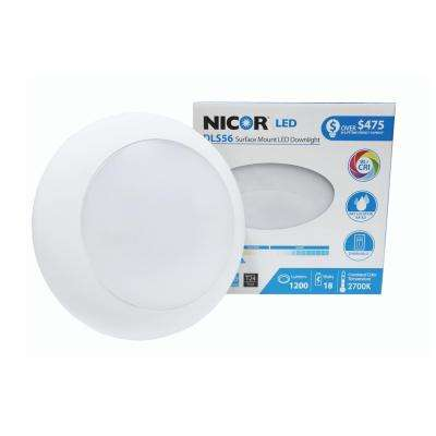 DLS 5/6 in. White 1200 Lumen Integrated LED Recessed Surface Mount Trim in 2700K