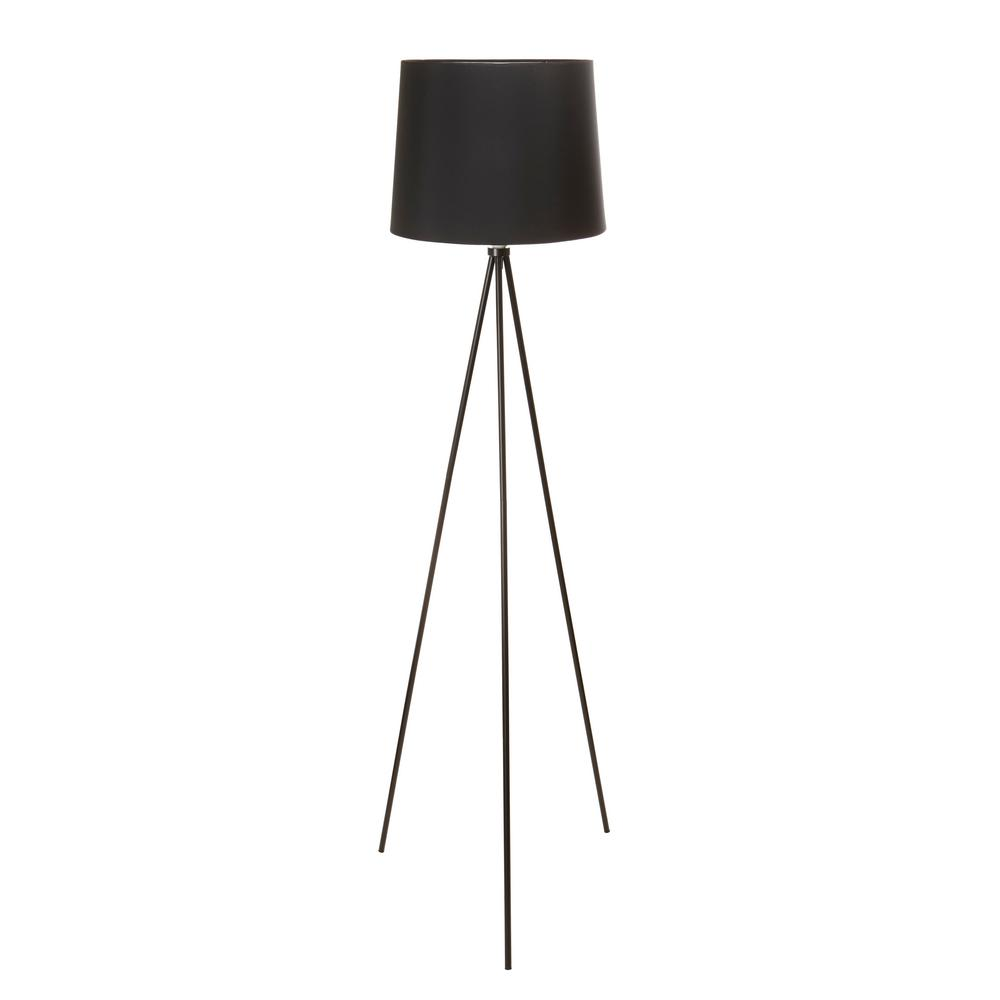Black Tripod Floor Lamp With Black Lamp Shade And E26 Light