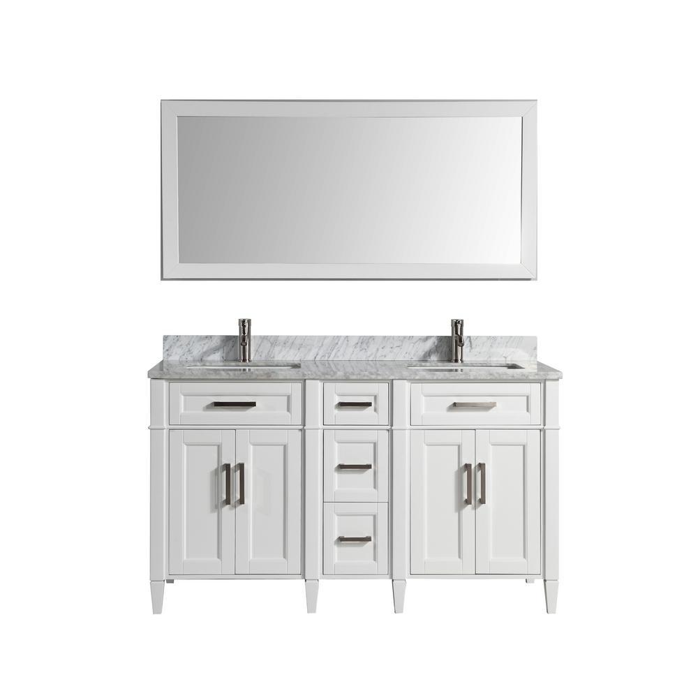Savona 60 in. W x 22 in. D x 36 in. H Bath Vanity in White with Vanity Top in White with White Basin and Mirror