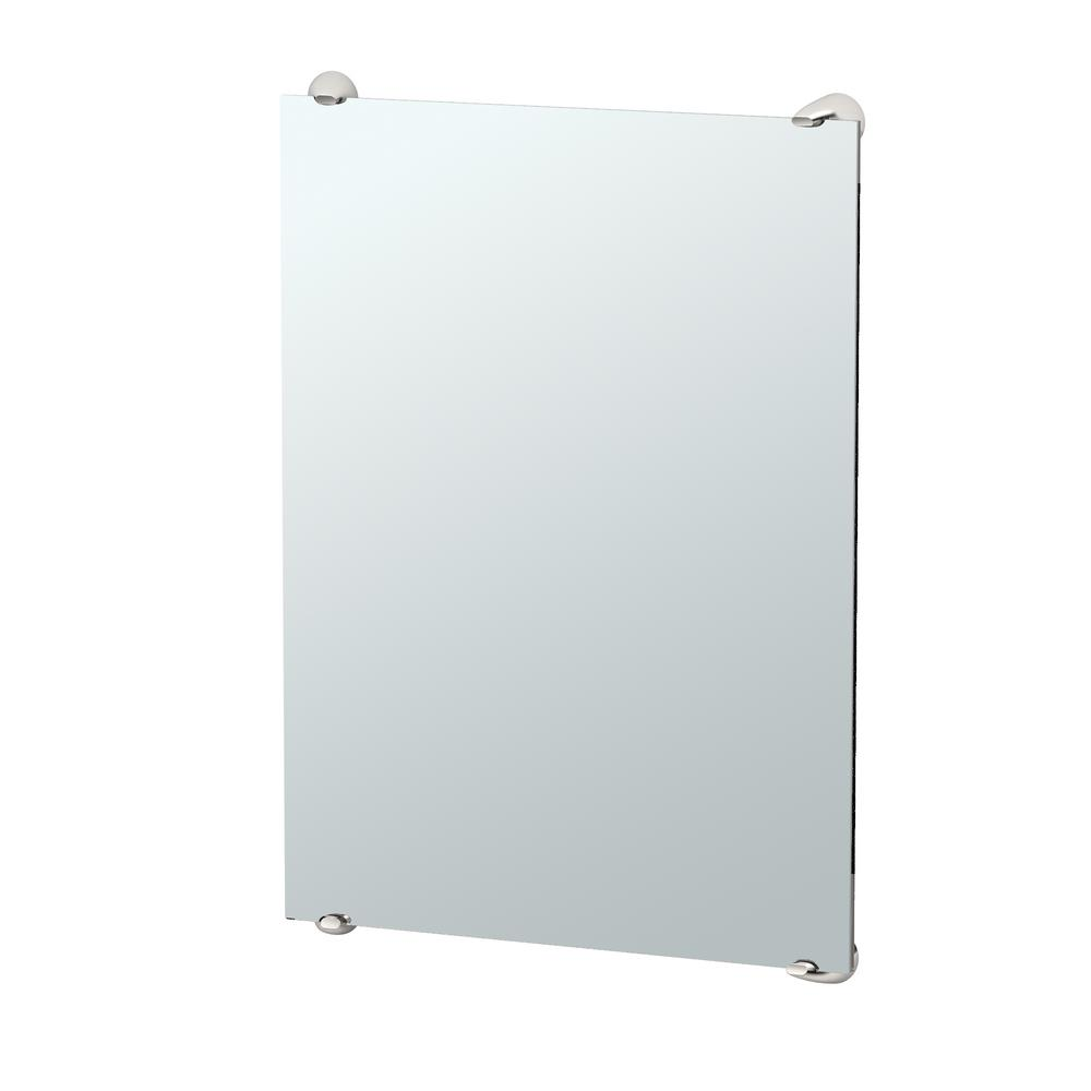 Brie 32 in. x 22 in. Minimalist Frameless Mirror in Chrome