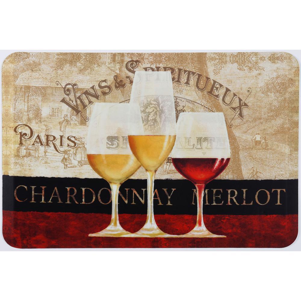 Home Dynamix Designer Chef Paris Wine Multi 24 in. x 36 in. Kitchen Mat