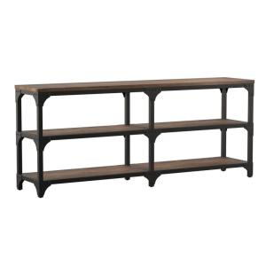 72 in. Weathered Brown/Gray Standard Rectangle Wood Console Table with 2-Shelves