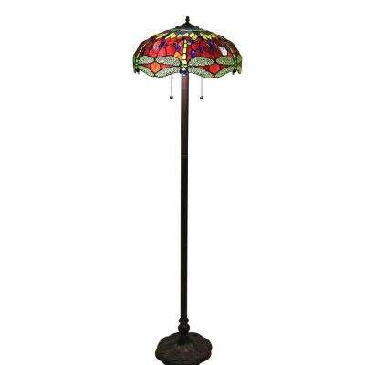 Tiffany-Style 61 in. Bronze Indoor Floor Lamp with Scarlet Dragonfly Shade