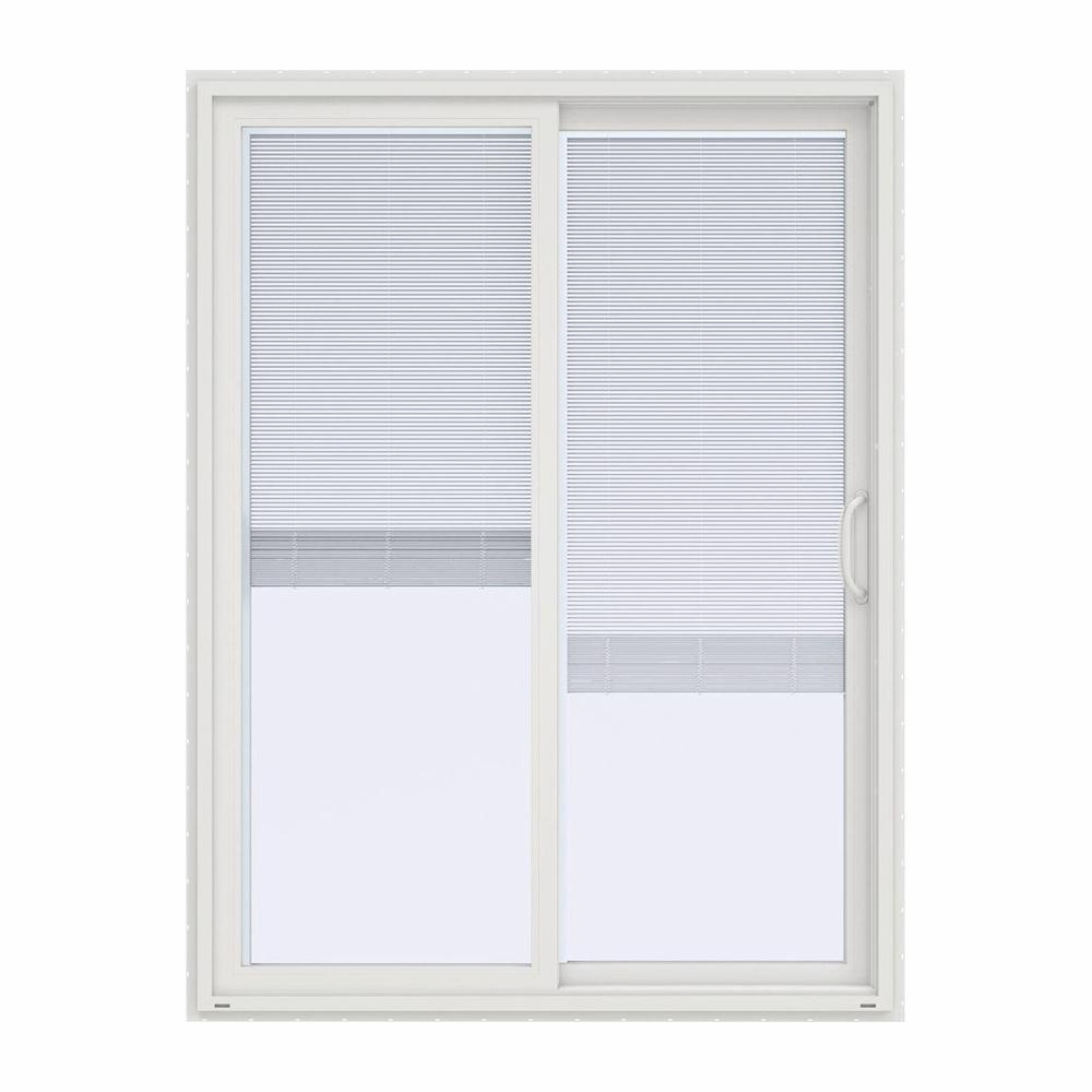 Jeld Wen 60 In X 80 In V 4500 Contemporary White Vinyl Right Hand Full Lite Sliding Patio Door W Blinds Thdjw155900242 The Home Depot