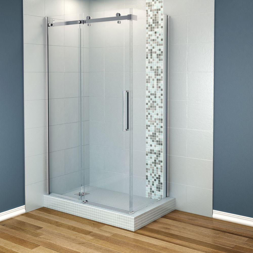 MAAX Halo 48 in. x 31-7/8 in. Frameless Corner Shower Enclosure in Chrome
