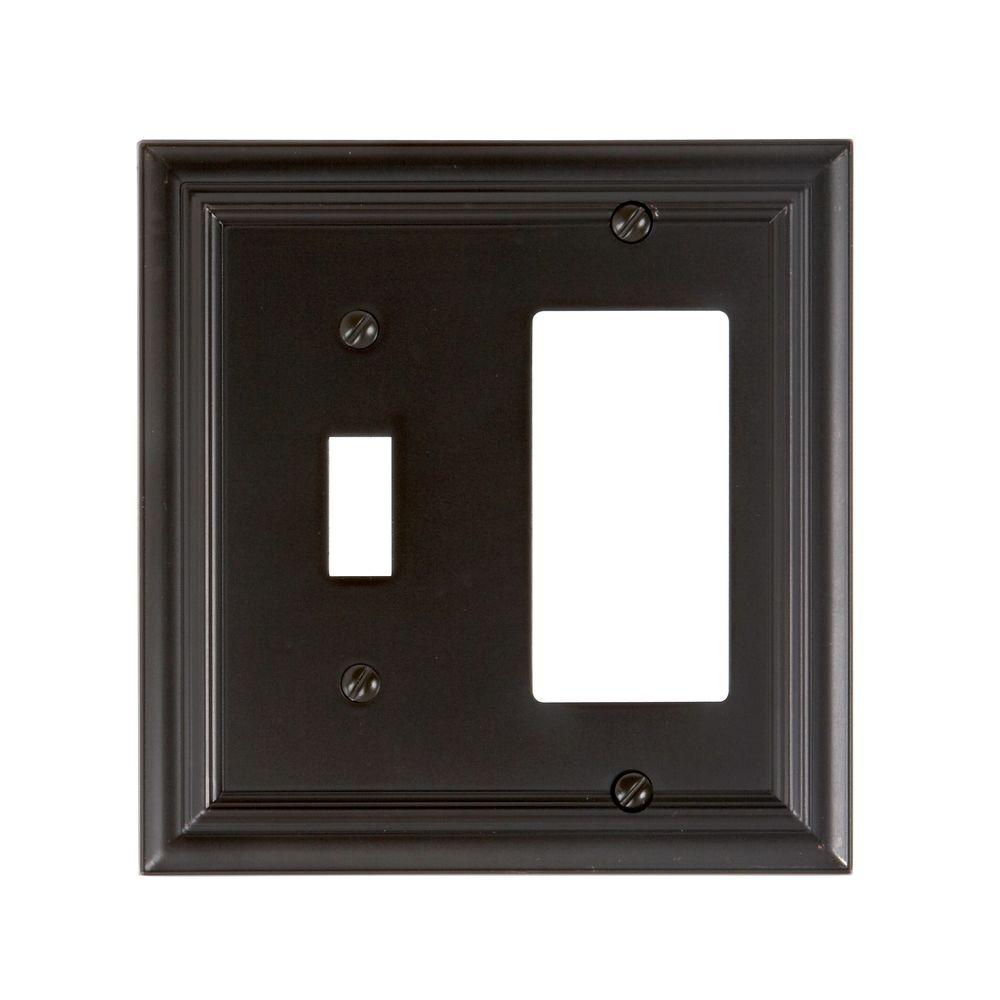 Amerelle Continental 1 Toggle 1 Decorator Wall Plate - Oil Rubbed Bronze