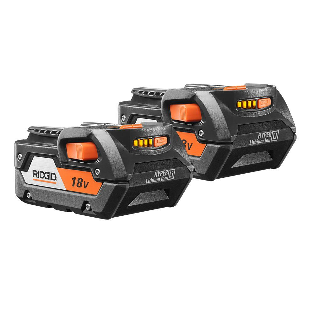 RIDGID 18-Volt Lithium-Ion 4.0Ah Battery Pack (2-Pack)