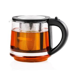 Ovente 3.4-Cup Black Glass Tea Kettle with Tea Infuser