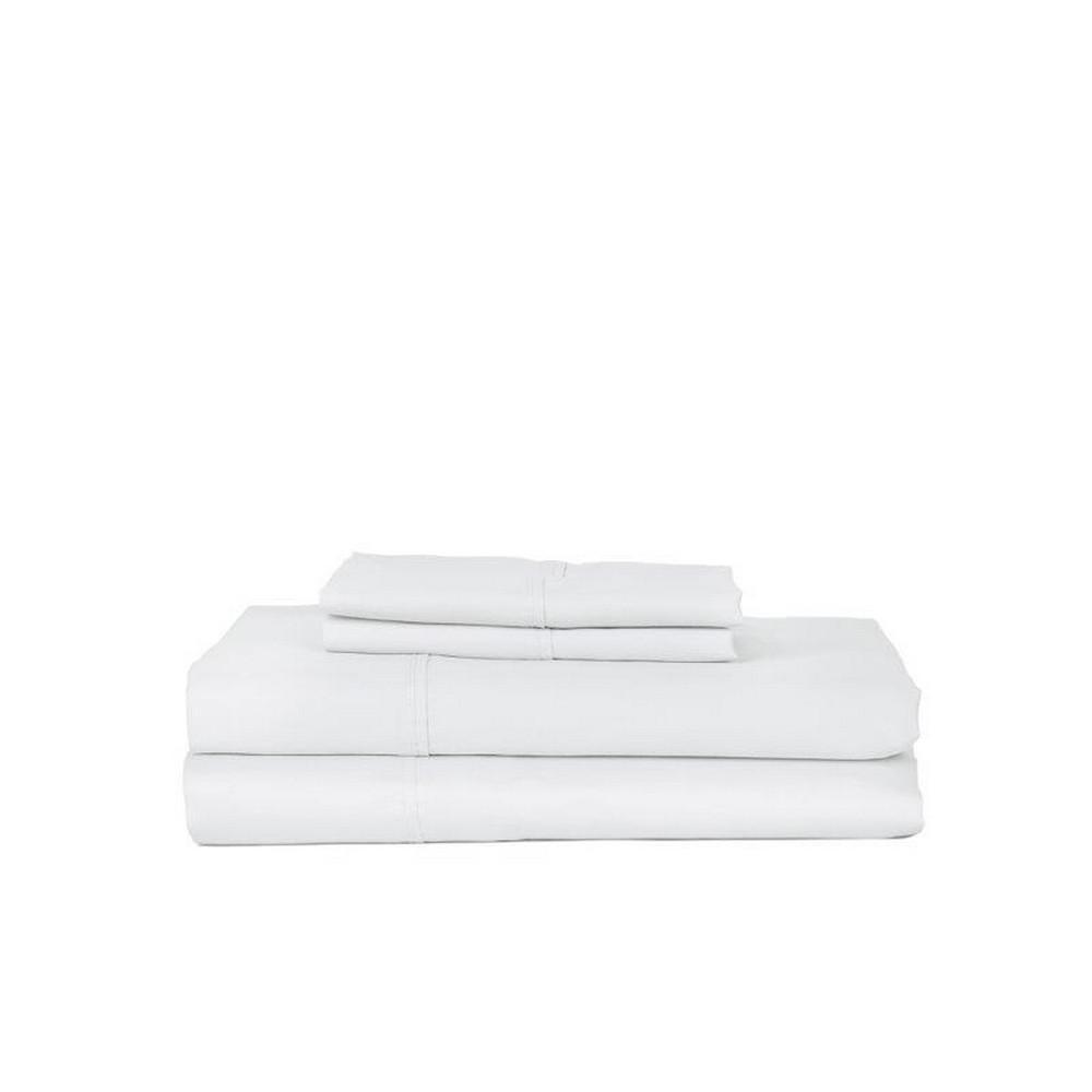 4-Piece White Cotton California King Sheet Set