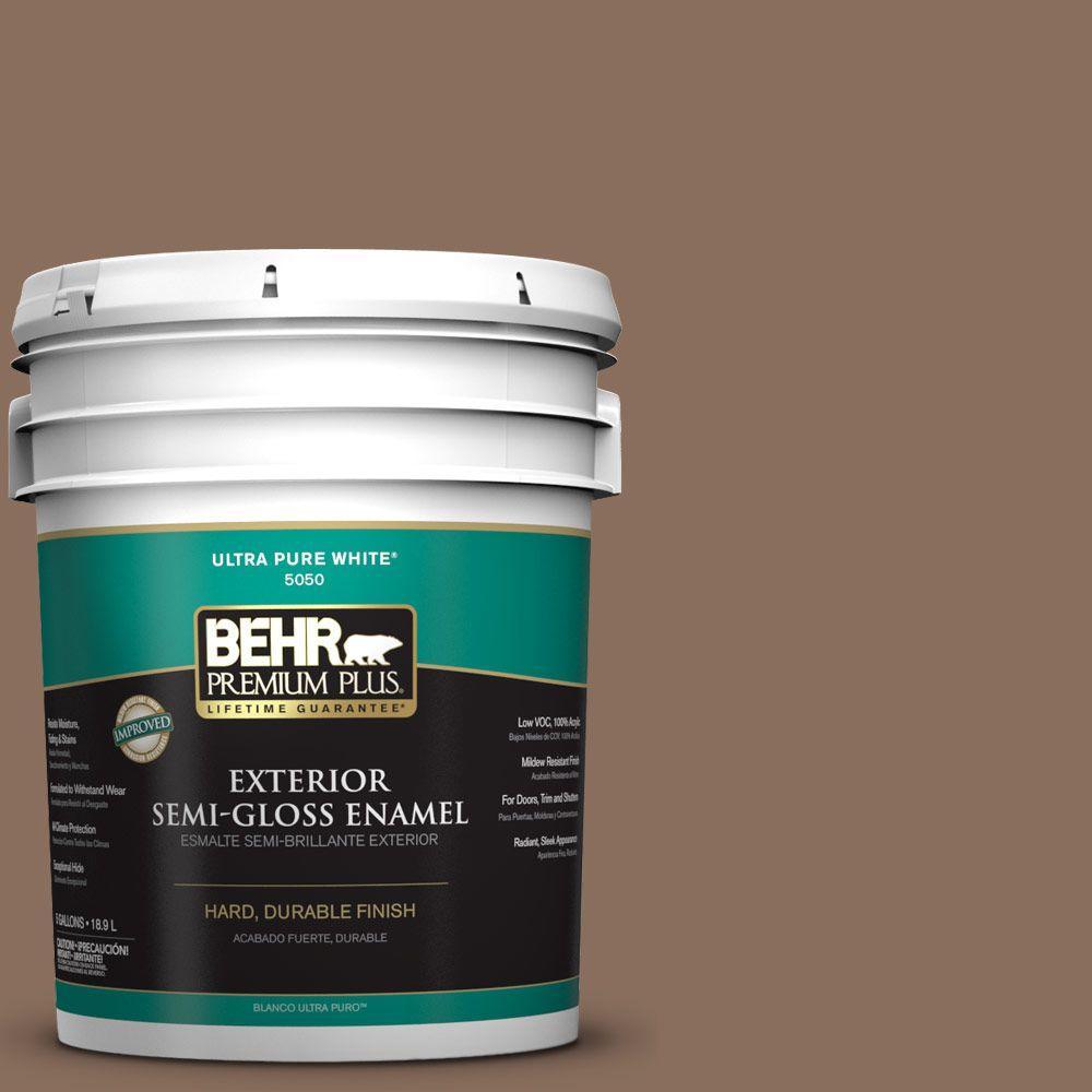 5-gal. #N190-6 Nut Brown Semi-Gloss Enamel Exterior Paint