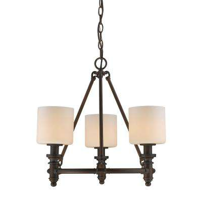 Beckford RBZ 3-Light Rubbed Bronze Chandelier with Opal Glass Shade