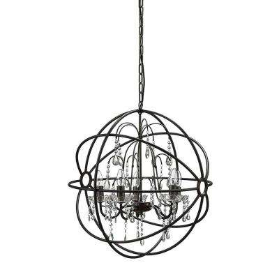 Collected Notions 6-Light Black/Crystal Globe Chandelier