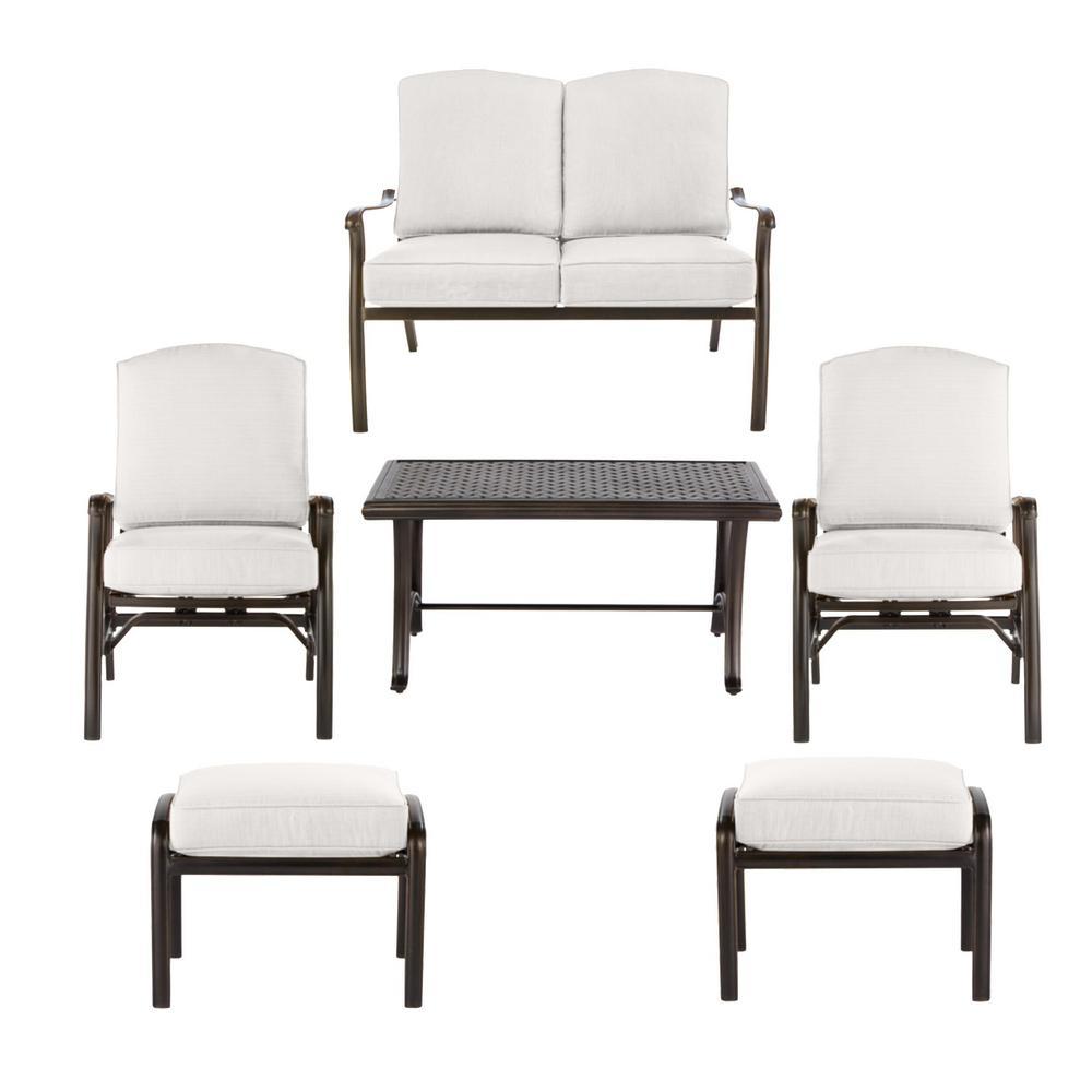 Ridge Falls Dark Brown Aluminum Outdoor Patio Deep Seating Set with CushionGuard Chalk White Cushions