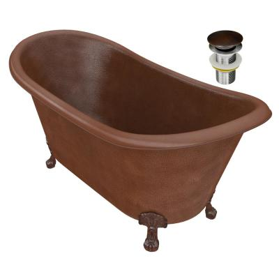 Aeris 66 in. Handmade Copper Double Slipper Clawfoot Non-Whirlpool Bathtub in Hammered Antique Copper