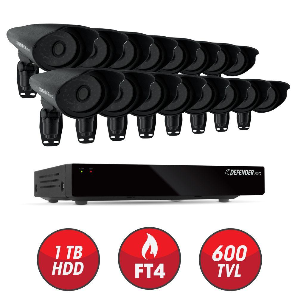 Defender Connected 16-Channel 1TB Smart Security DVR with (16) 600 TVL Ultra Hi-Res Indoor/Outdoor Cameras