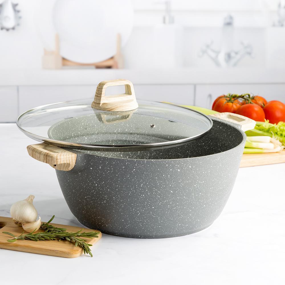 10 qt. Jumbo Cast Aluminum Nonstick Dutch Oven with Lid in Gray Speckle