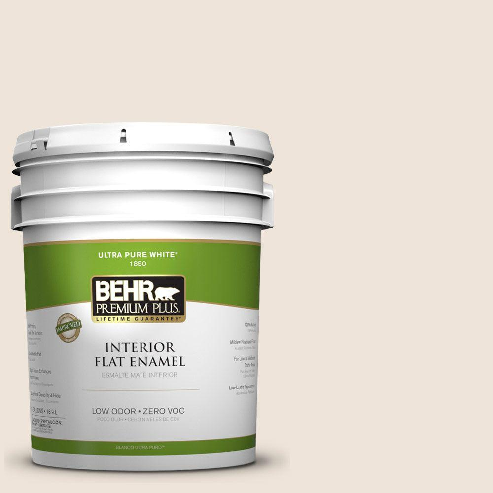 BEHR Premium Plus 5-gal. #PPL-51 Pale Chamois Zero VOC Flat Enamel Interior Paint-DISCONTINUED