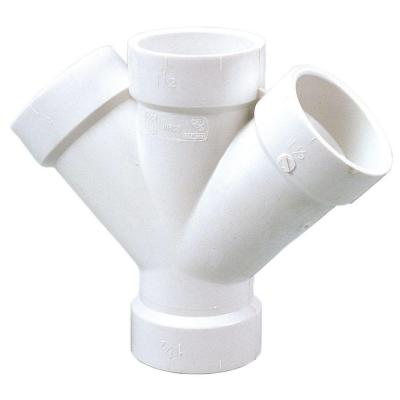 1-1/2 in. PVC DWV 45-Degree All Hub Double Wye Fitting