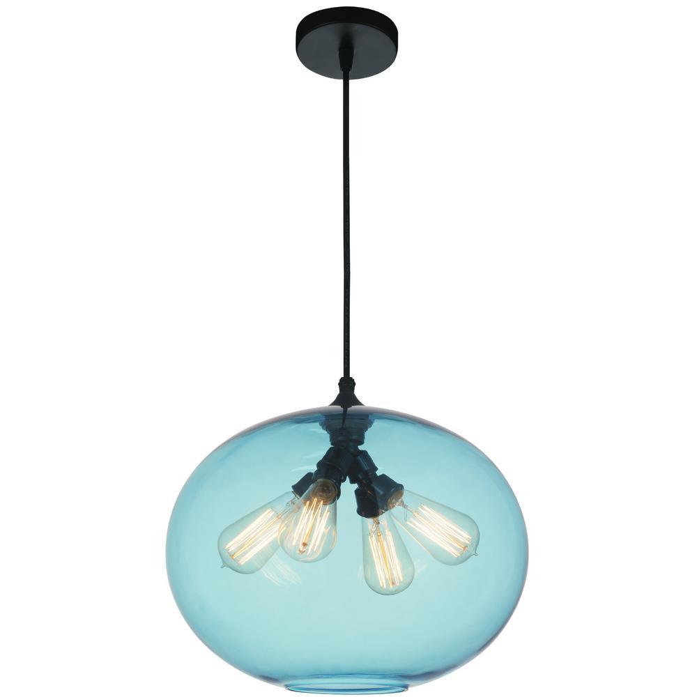 Glass 4-Light Transparent Blue Pendant