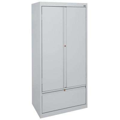 Systems Series 30 in. W x 64 in. H x 18 in. D Storage Cabinet with File Drawer in Dove Grey
