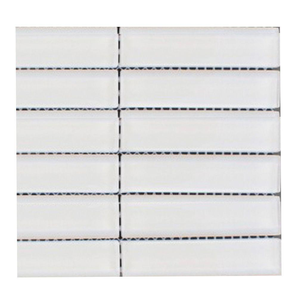 Splashback Tile Contempo Bright White Polished Glass Mosaic Floor and Wall Tile - 3 in. x 6 in. x 8 mm Tile Sample