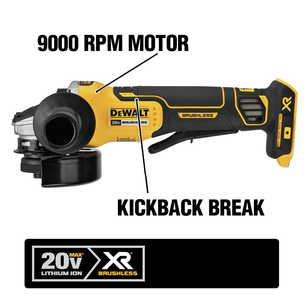 DeWALT DCG413 20V MAX XR Cordless 4 1//2 Brushless Angle Grinder Brake 5.0 AH Kit