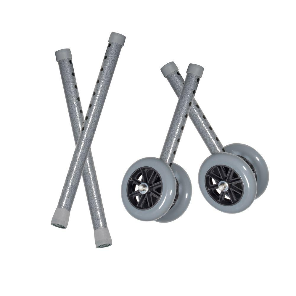 Drive Heavy Duty Bariatric 5 in. Walker Wheels with Extension Legs