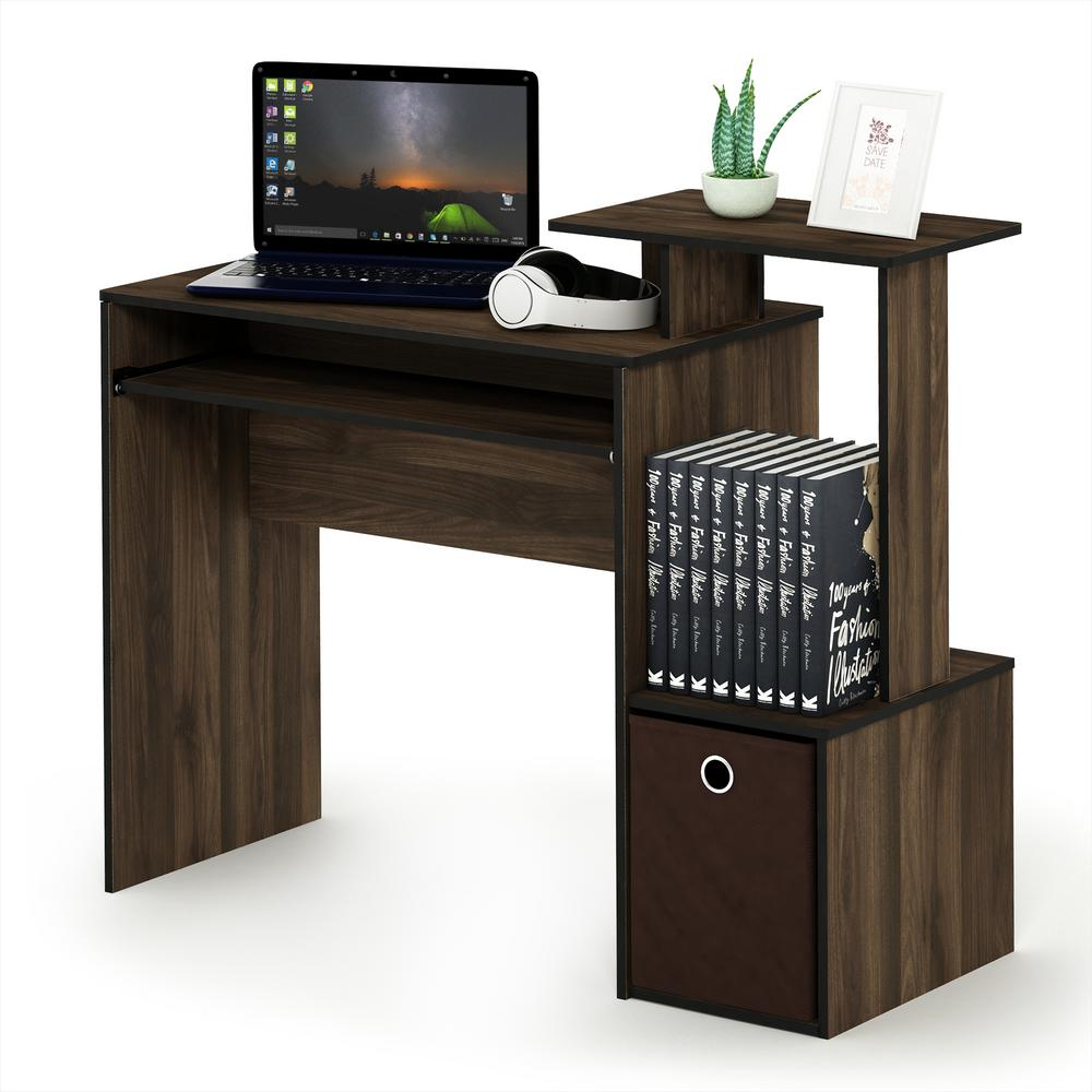 Furinno Econ Columbia Walnut/Dark Brown Multipurpose Home Office Computer  Writing Desk With Bin
