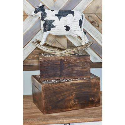 Rectangular Mango Wood Boxes with Lid and Carved Ornate Design (Set of 3)