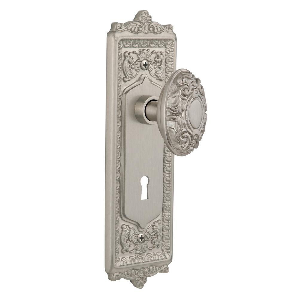 Defiant 2 In Satin Brass Victorian Door Knob Mortise Lock