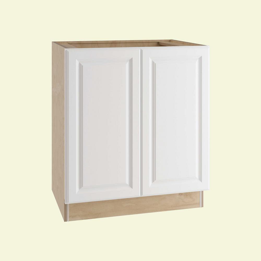 Home Decorators Collection Hallmark Assembled 27x34.5x24 in. Base Kitchen Cabinet with Double Full Height Doors in Arctic White