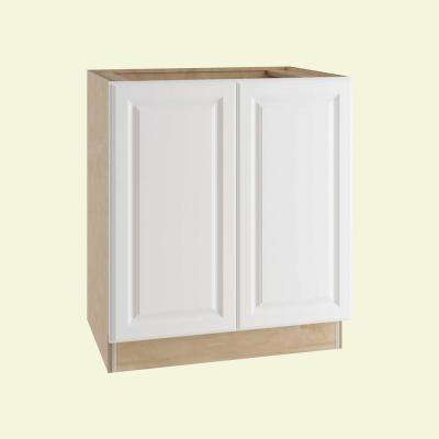 Hallmark Assembled 30x34.5x24 in. Base Kitchen Cabinet with Double Full Height Doors in Arctic White