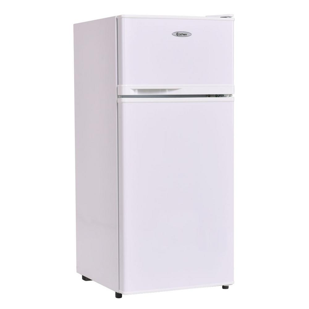Costway 3.4 cu. ft. Unit Compact Mini Fridge Freezer Cooler 2 Doors White This 3.4 cu. ft. White Compact Refrigerator with Internal Freezer is ideal for smaller spaces like a dorm room, teen's bedroom or office. This appliance also suits for hotels, offices, household etc. It is sized perfectly to keep drinks and small amounts of food cold and in a convenient location. With a double door design, the separate freezer compartment can be selected quickly for frozen treats or packages of meat. It makes the most out of the space it has with three small glass shelves, a fruit box and an egg rack for storage. There is also a special Can dispenser and door bins to hold drinks on the inside of the door.