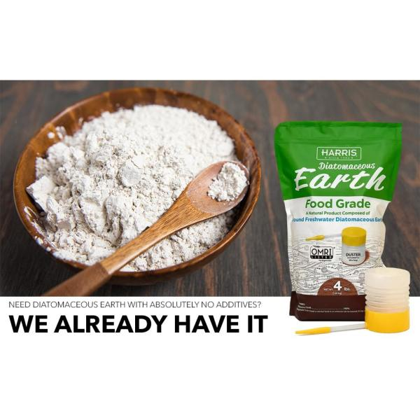 Harris 64 Oz 4 Lb Diatomaceous Earth Food Grade 100 With Powder Duster Applicator De Fg4p The Home Depot
