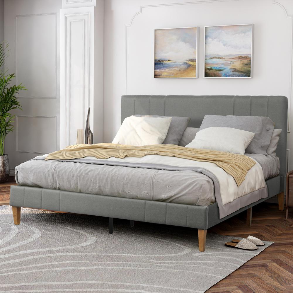 Gray King Tufted Upholstered Platform Bed