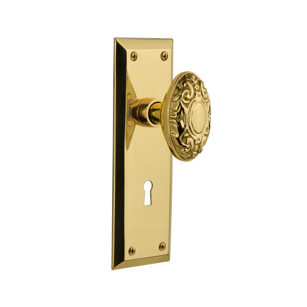 New York Plate Interior Mortise Victorian Door Knob in Polished Brass