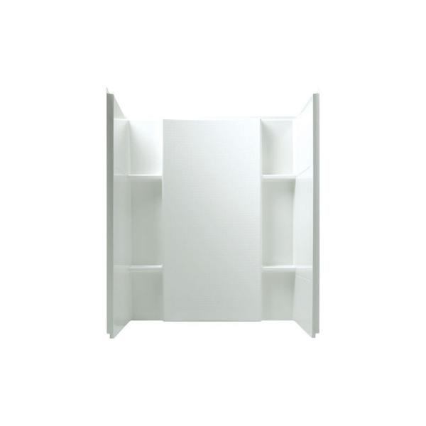 Accord 36 in. x 48 in. x 55-1/8 in. 3-Piece Direct-to-Stud Shower Wall in White