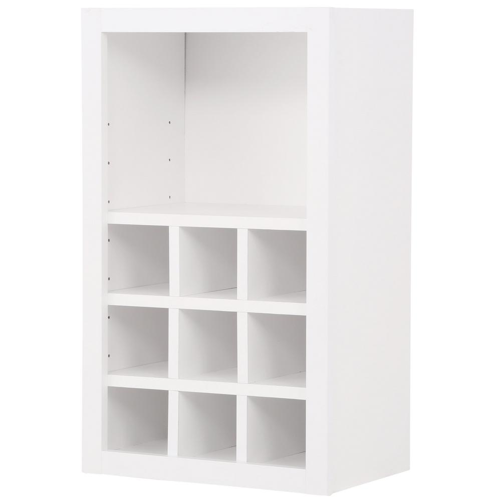 Hampton Bay Hampton/Shaker Assembled 18x30x12 in. Wall Flex Kitchen Cabinet  with Shelves and Dividers in Satin White