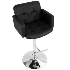 Admirable Lumisource Stout Chrome And Black Faux Leather Adjustable Andrewgaddart Wooden Chair Designs For Living Room Andrewgaddartcom