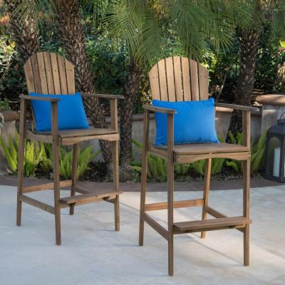 Natural Stained Wood Outdoor Adirondack Bar Stool (2-Pack)