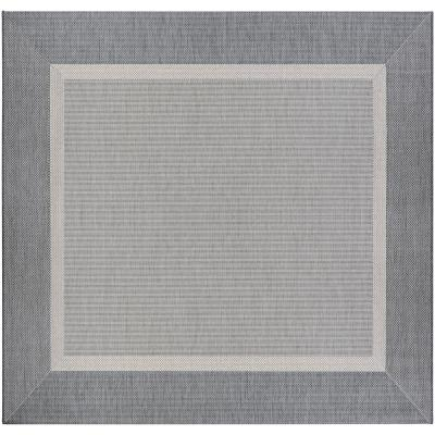 Recife Stria Texture Champagne-Grey 8 ft. x 8 ft. Square Indoor/Outdoor Area Rug