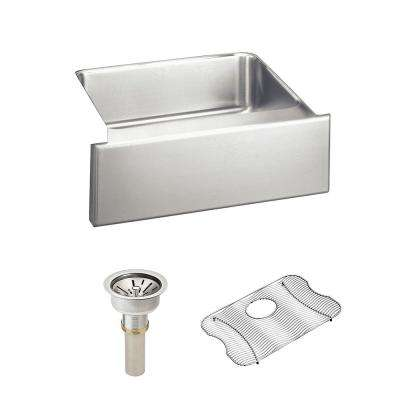 Lustertone Farmhouse Apron Front Stainless Steel 25 in.  Single Bowl Kitchen Sink with Drain and Bottom Grid