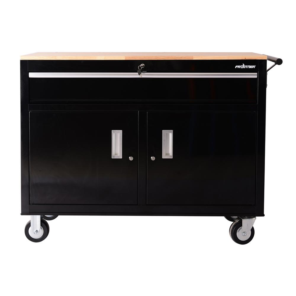 46 in. 1-Drawer Tool Chest Cabinet, Mobile Workbench Station in Black