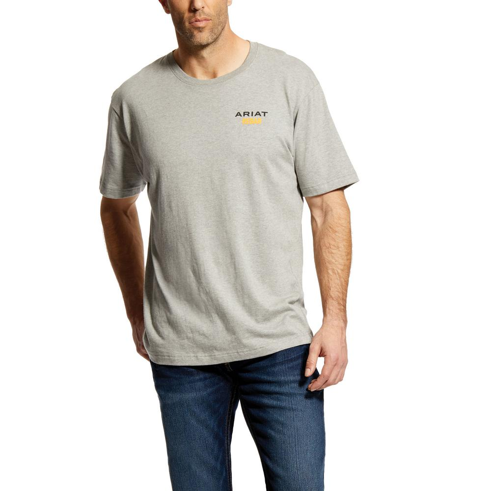 c77aec66424e Men's Size 3X-Large Tall Heather Gray Rebar Cottonstrong Logo Short Sleeve  Work T-Shirt