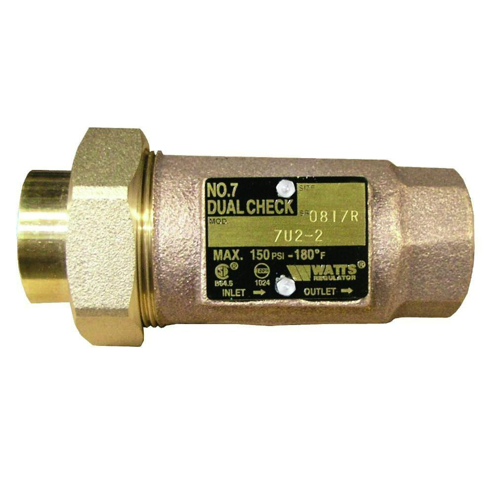 watts 3 4 in lead free brass mpt dual check valve lf7u2 2 3 4 the home depot. Black Bedroom Furniture Sets. Home Design Ideas
