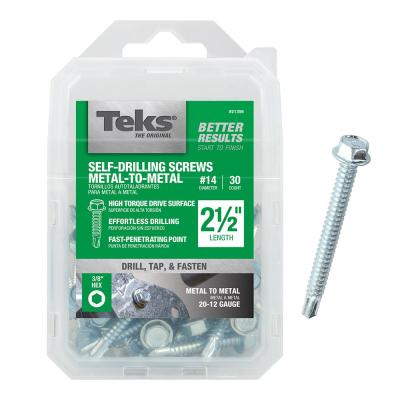 #14 2-1/2 in. External Hex Flange Hex-Head Self-Drilling Screws (30-per Pack)
