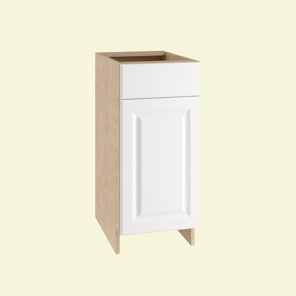 Home Decorators Collection Anzio Ready to Assemble 15 x 34.5 x 24 in. Base Cabinet with 1 Soft Close Door and 1 Soft Close Drawer in Polar White