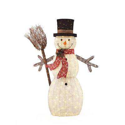 60 in. 175-Light Christmas LED Snowman with Broom