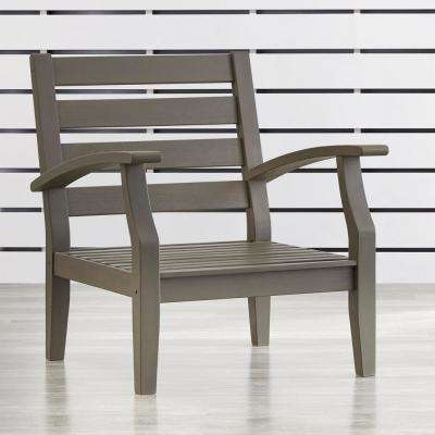 Verdon Gorge Gray Oiled Wood Outdoor Occasional Lounge Chair