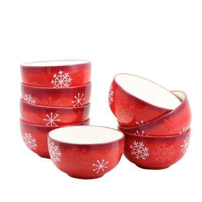 Snappy Snowman Red Bowl (Set of 8)